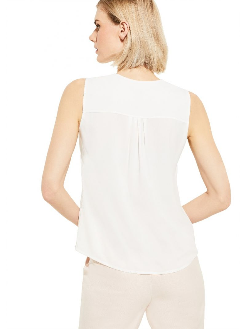 Mouwloze Top met V-Hals - Off White