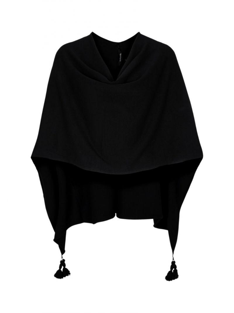 Fijnbrei Poncho - Zwart