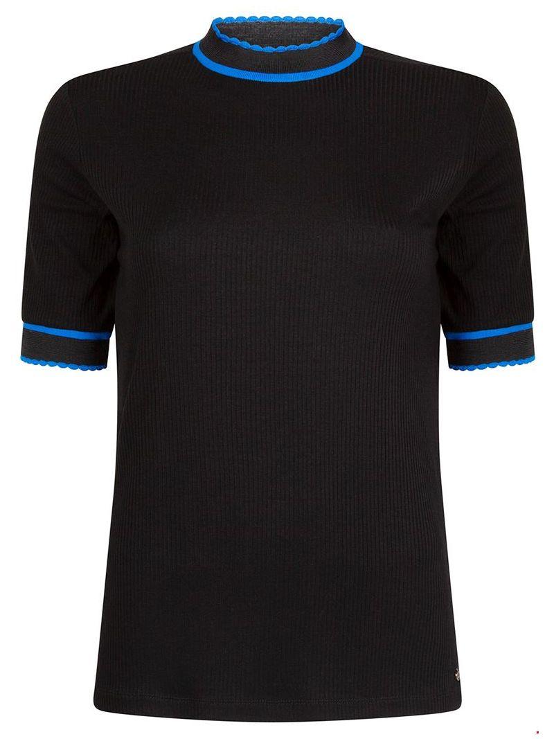Geribde Turtle Neck Top - Zwart / Blauw