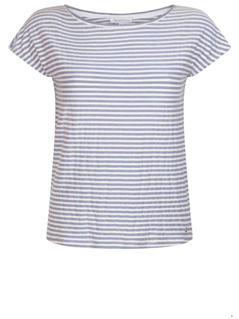 Jersey Streep T-Shirt - Blauw