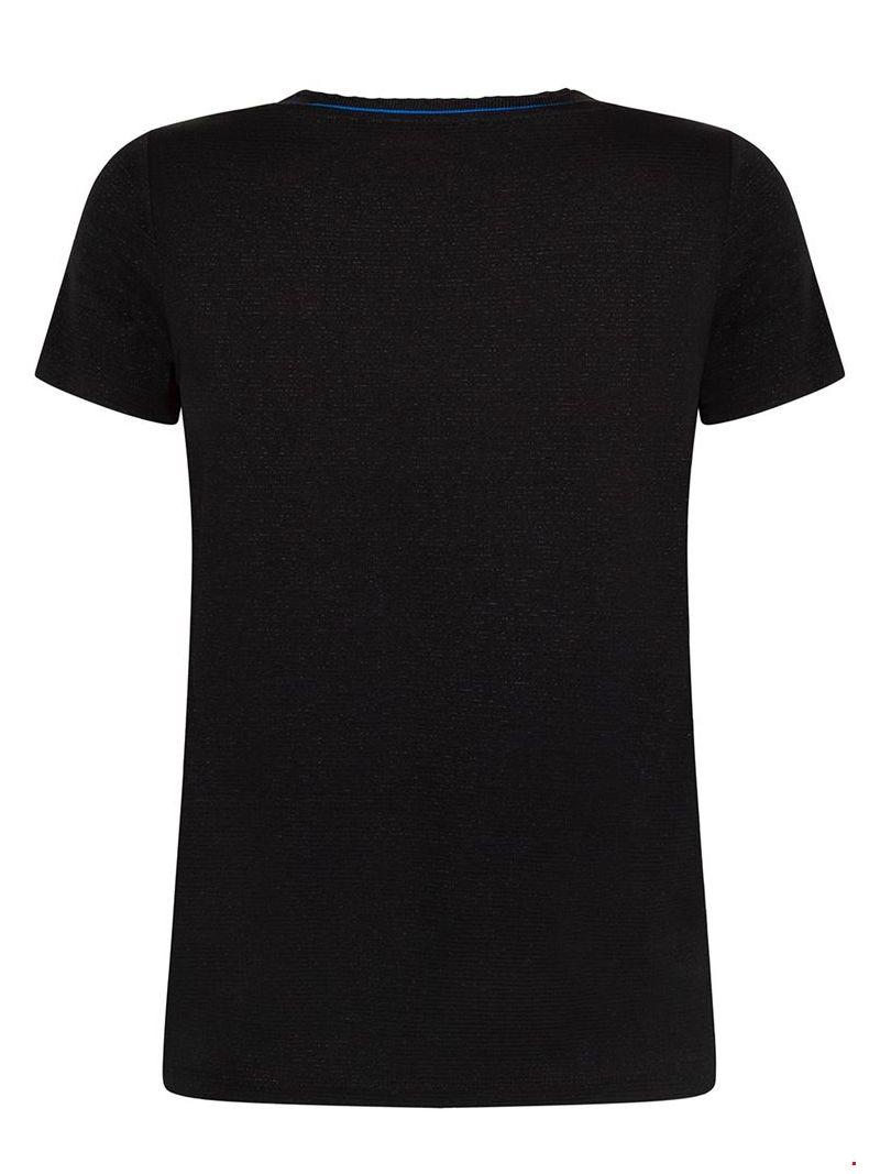 T-shirt met lurex streepje - Zwart / Blauw