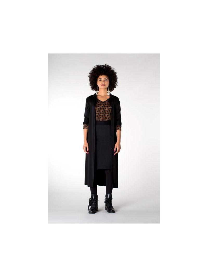 2-Way Shirt met Dessin - Zwart