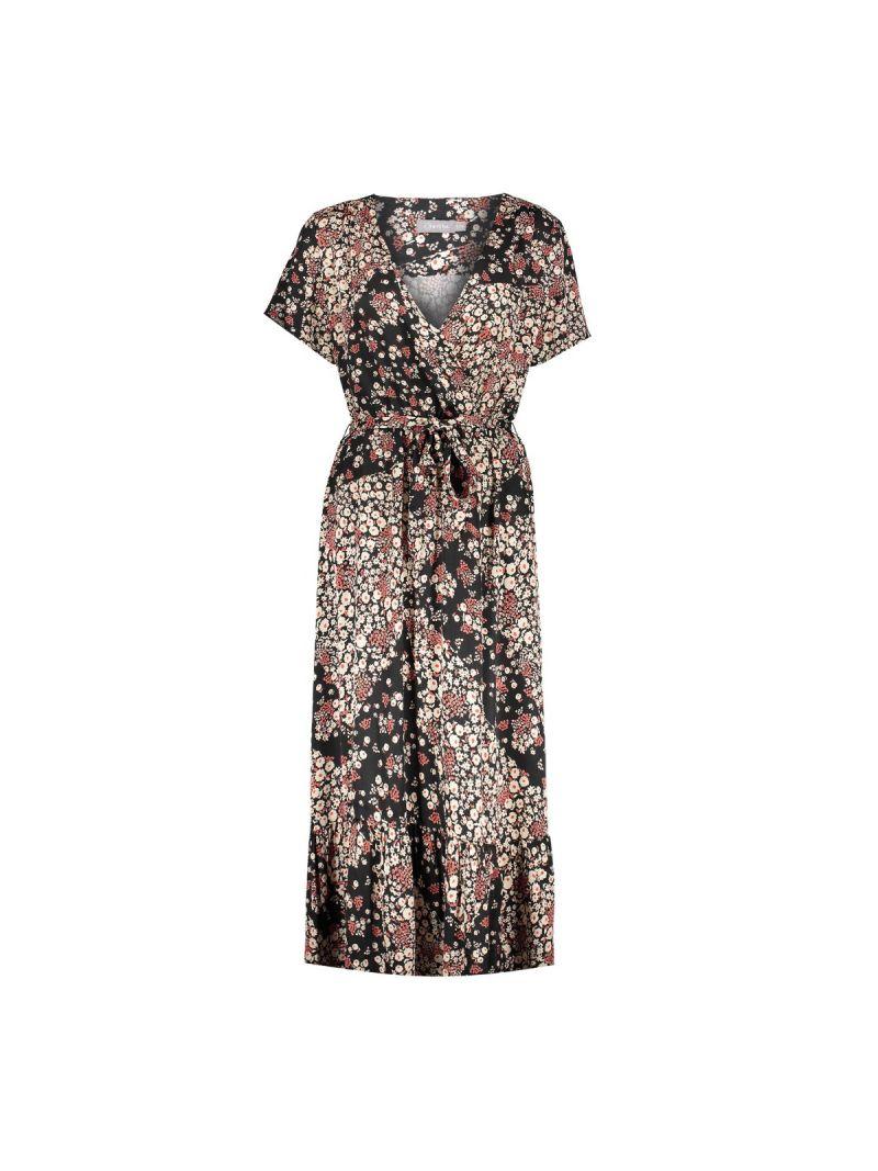 07401 Wrap Dress Zwart/Rood