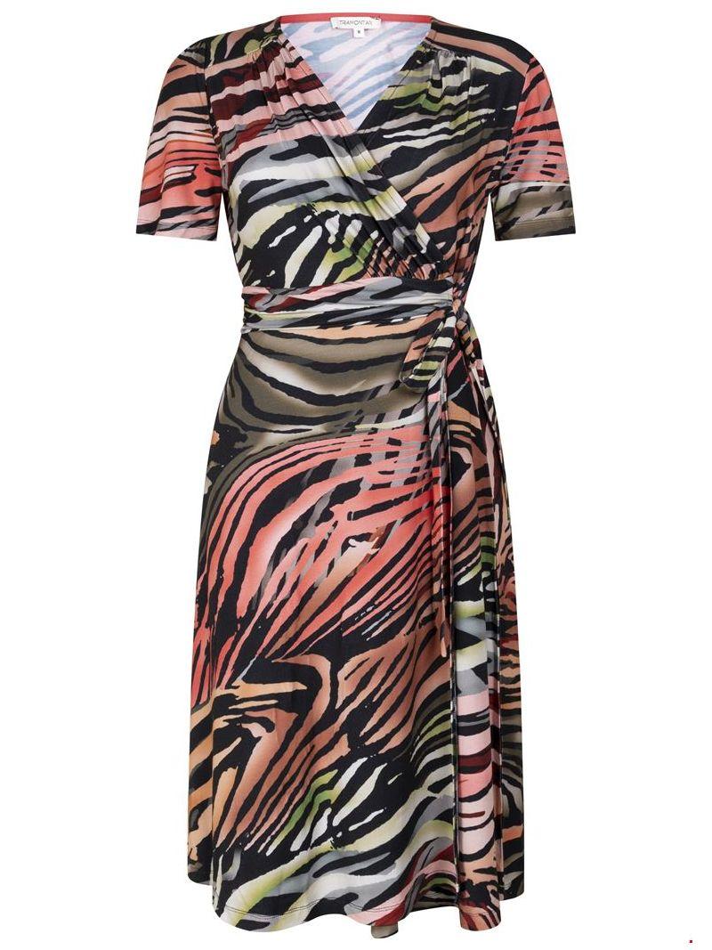 Jersey Flamed Animal Print Jurkje - Zwart