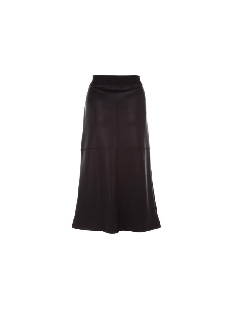Leather Look Midi Rok - Zwart