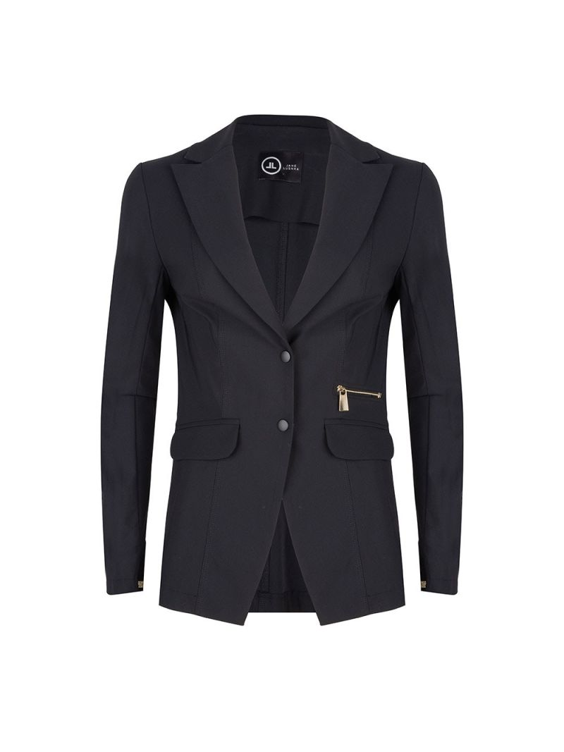Travel Blazer met Tape Accent - Zwart