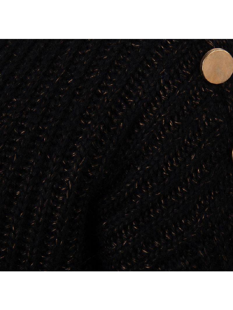 Gebreide Pullover Melange met Gouden Knopen