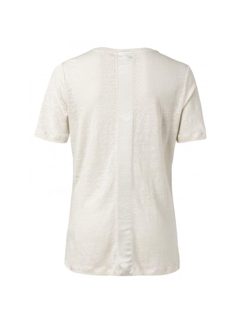 Linnen T-Shirt met Satijnen Tape - Beige