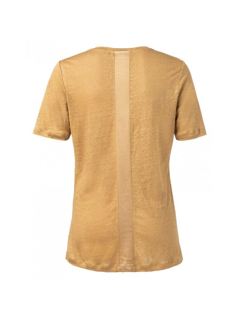 Linnen T-Shirt met Satijnen Tape - Oker