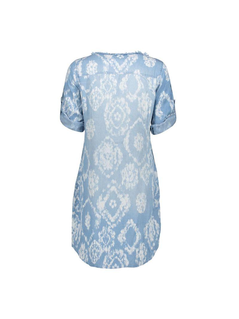 Tuniek bleached met Dessin - Licht Blauw