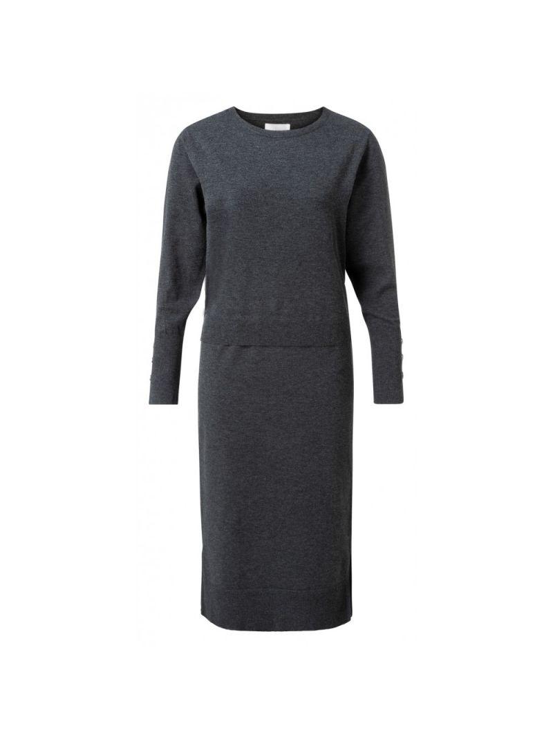 Maxi Dress met Geribbelde Tailleband - Grijs