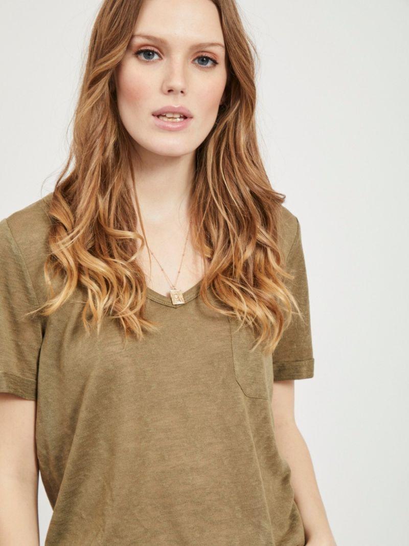 T-Shirt met V-Hals - Olijf