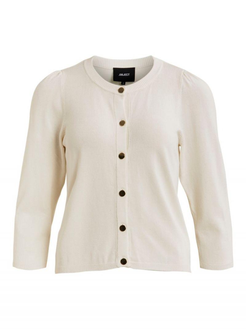 Fijnbrei Vest met Gouden Knoopjes - Off White