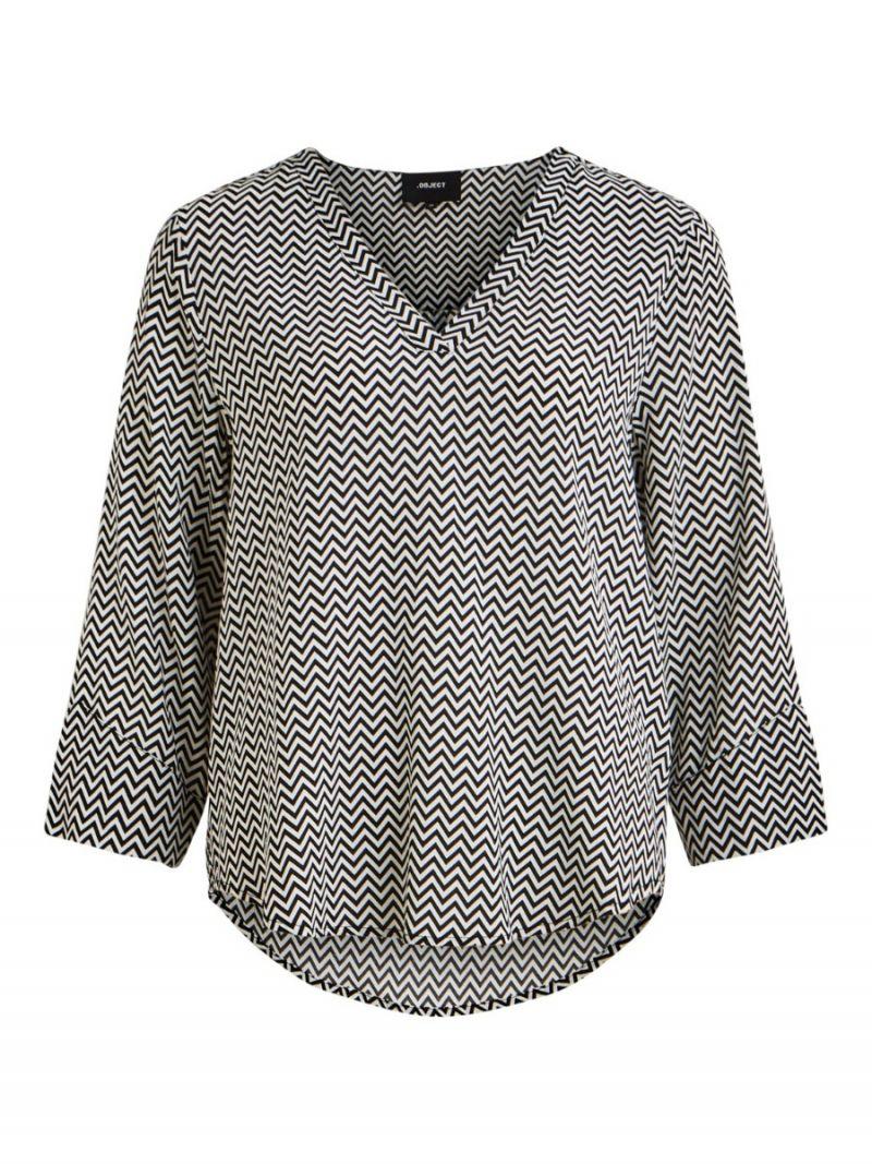 V-Hals Blousje met Zigzag Print - Zwart