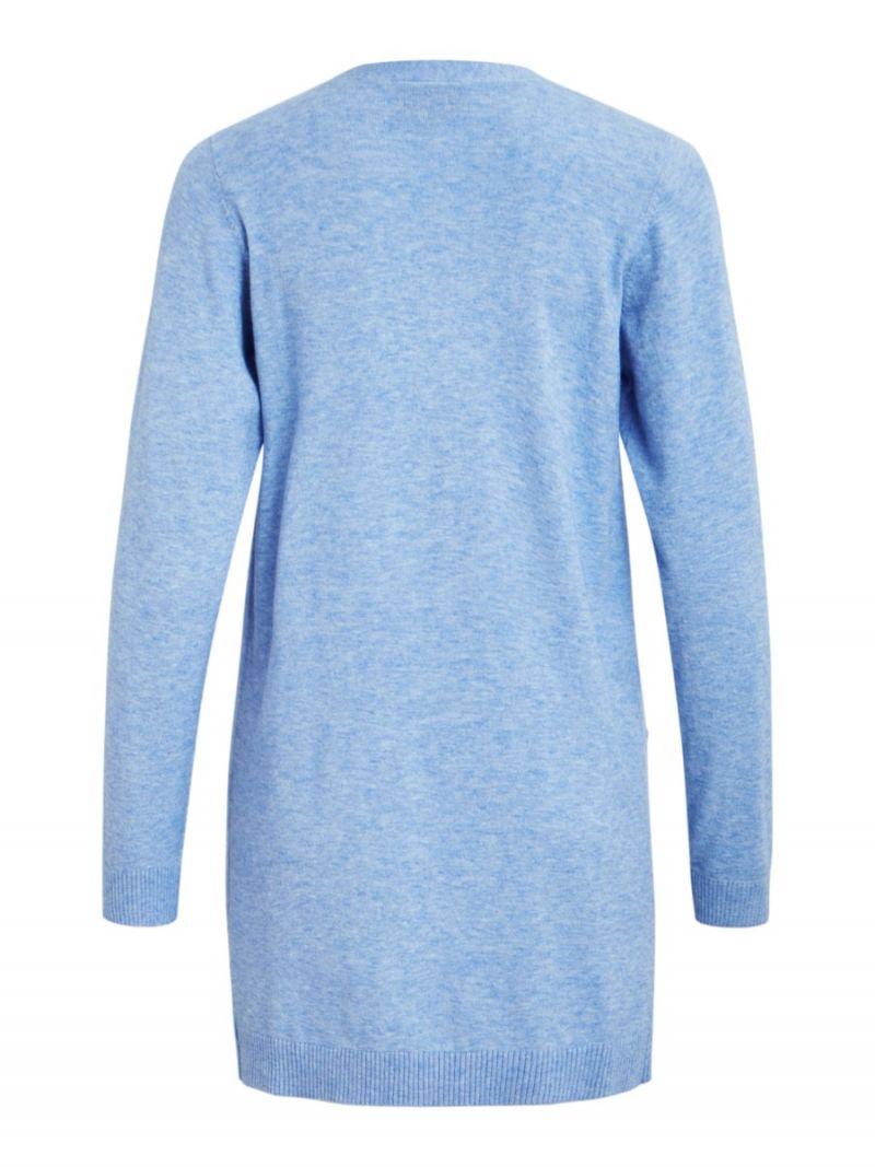 Lang Fijnbrei Vest - Blauw Melange