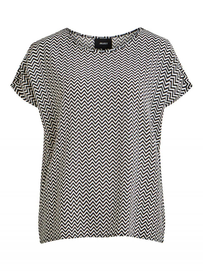 Top Korte Mouw met Zigzag Print - Zwart