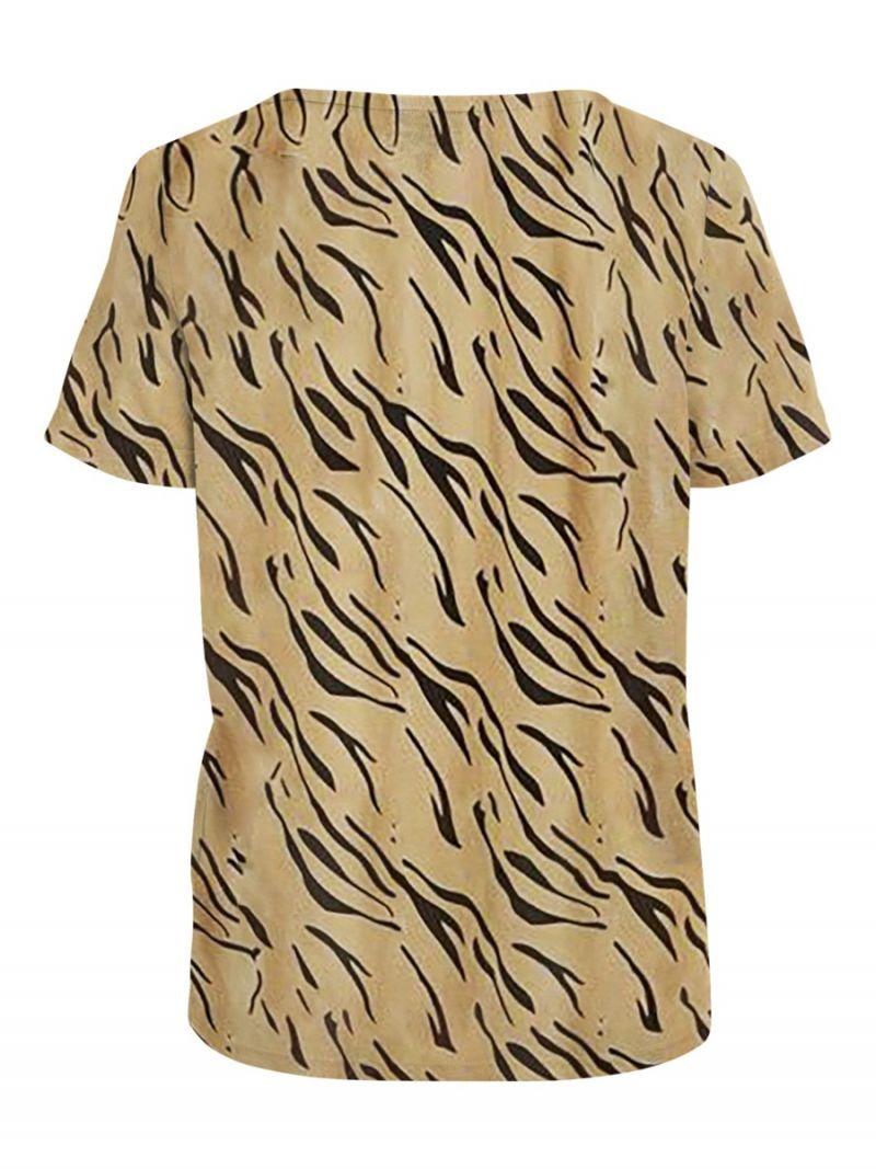 T-Shirt met V-Hals in Tijgerprint - Camel/Zwart