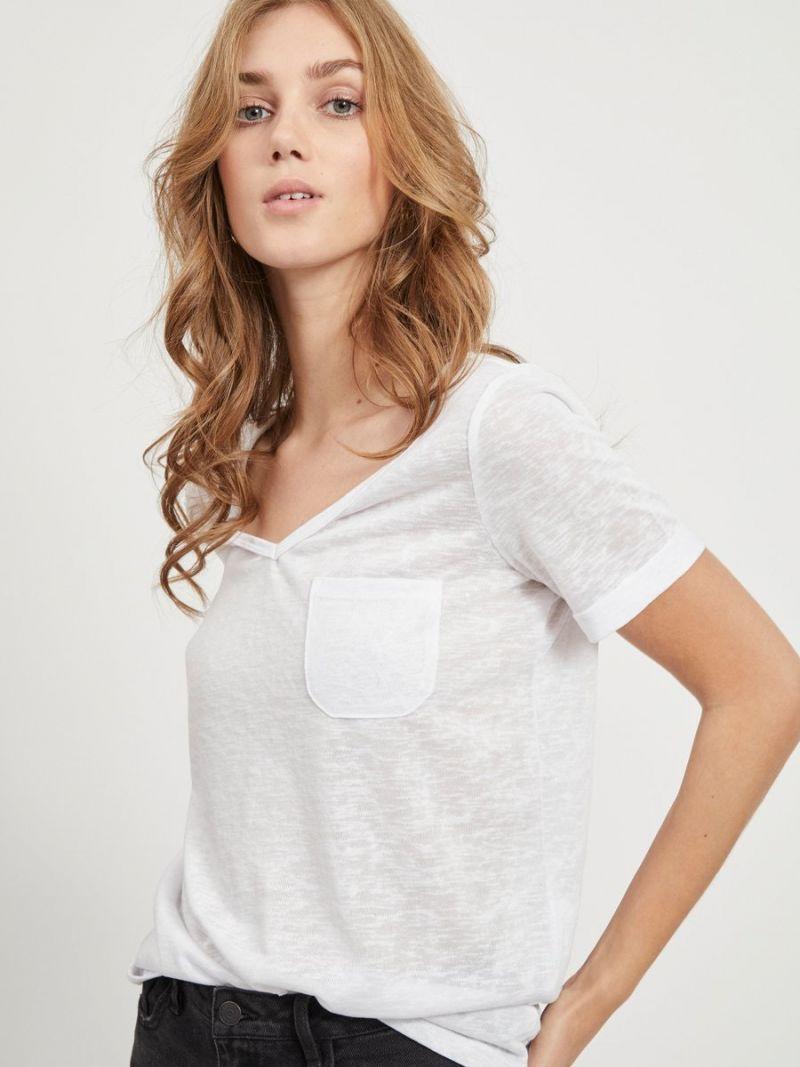 Tessi T-Shirt met V-Hals - Wit