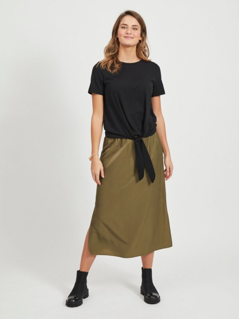 T-Shirt met Knoop Detail - Zwart