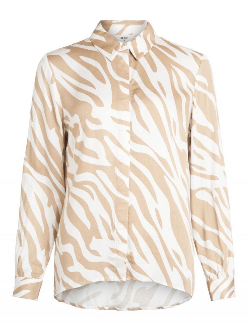 Elenora Zebra Print Blousje Wit/Camel