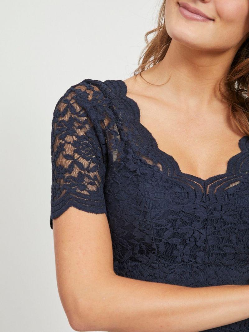 Rosa Kanten Shirt - Donker Blauw