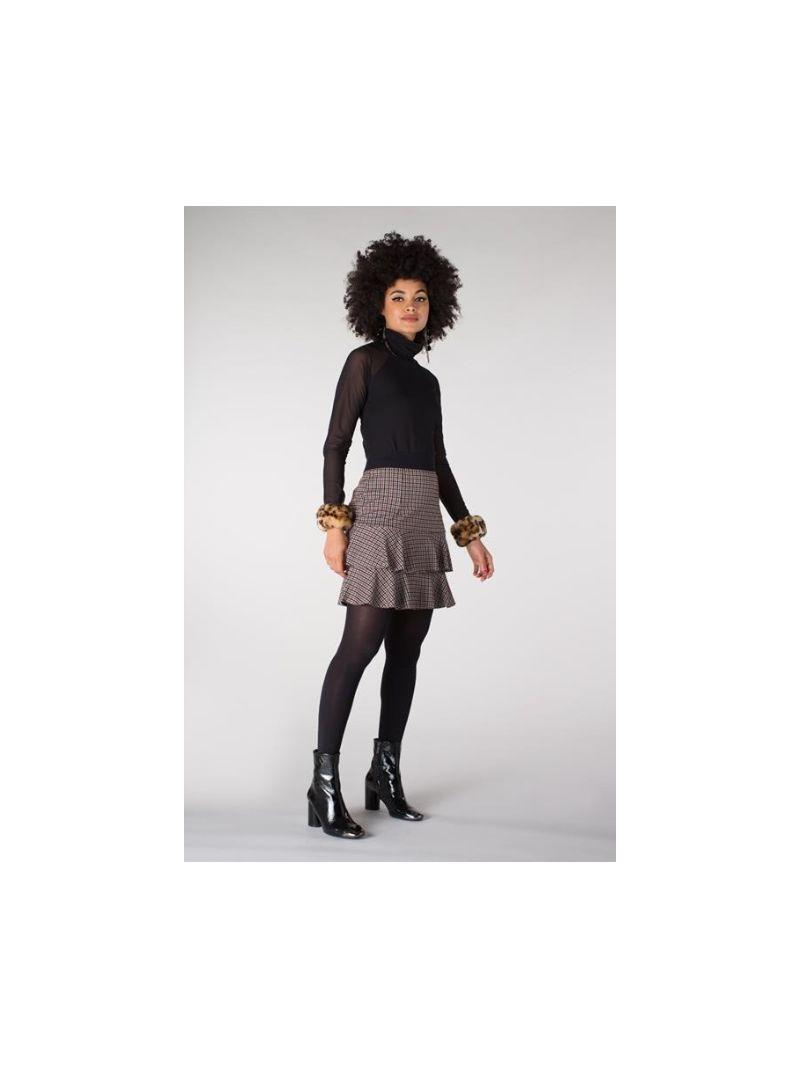 Mesh Col Shirt - Zwart