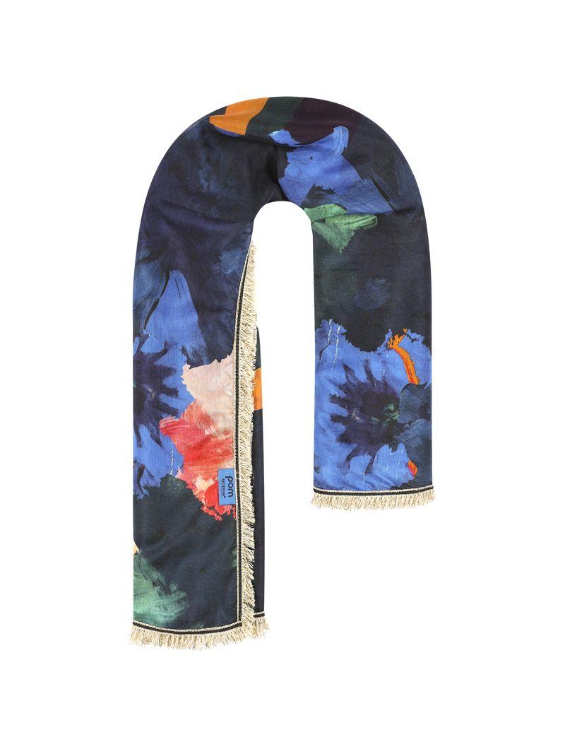 SP6101 Shawl Festival Flowers Blue