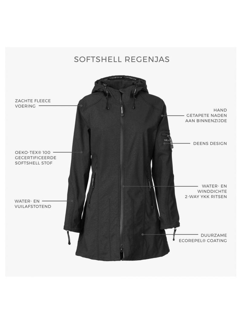 Softshell 3/4 Regenjas - Zwart