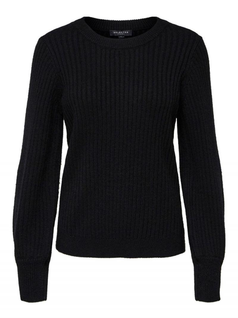 Ribbrei Pullover met Ballonmouw - Zwart