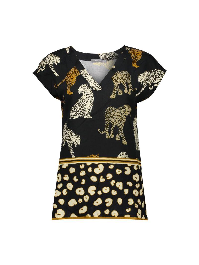 Print Top Leopard met  V-Hals - Zwart