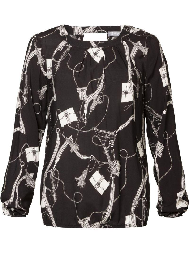 Blouse Top Bags & Tassels Print Zwart