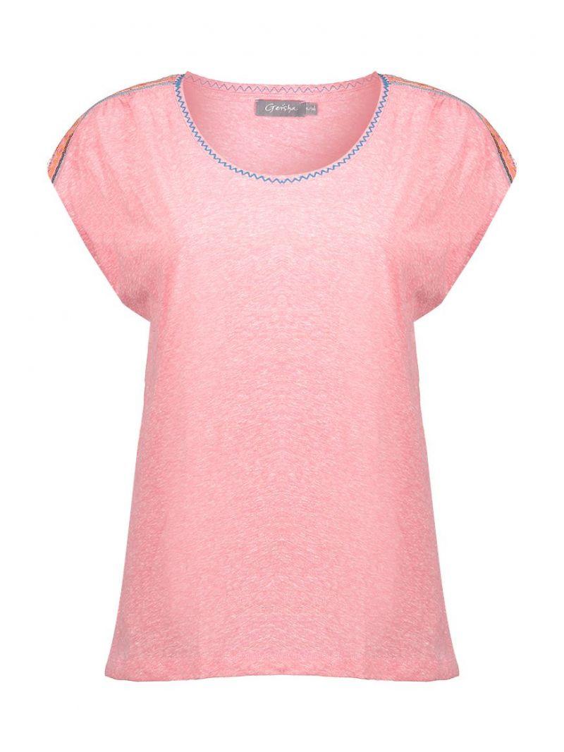 03163 T-Shirt met Schouderdetail - Roze