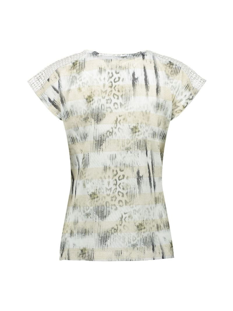03102 T-Shirt Knitted Shoulders - Wit