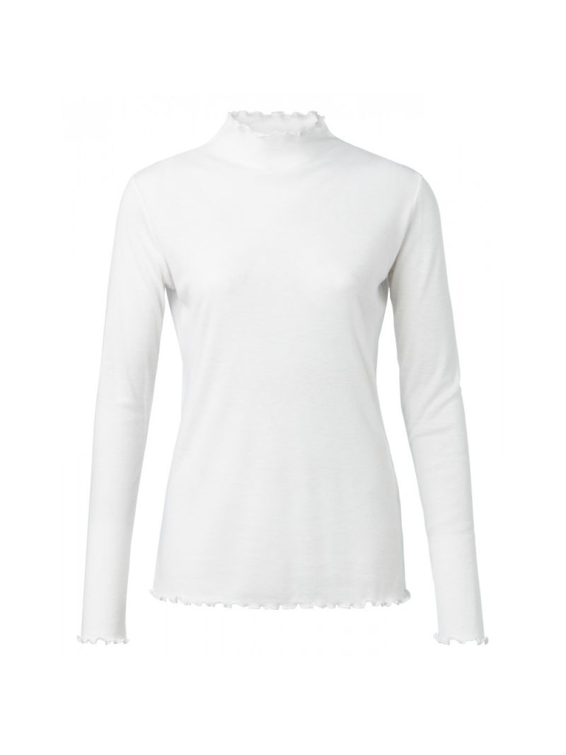 Shirt met Ruffleneck - Off White