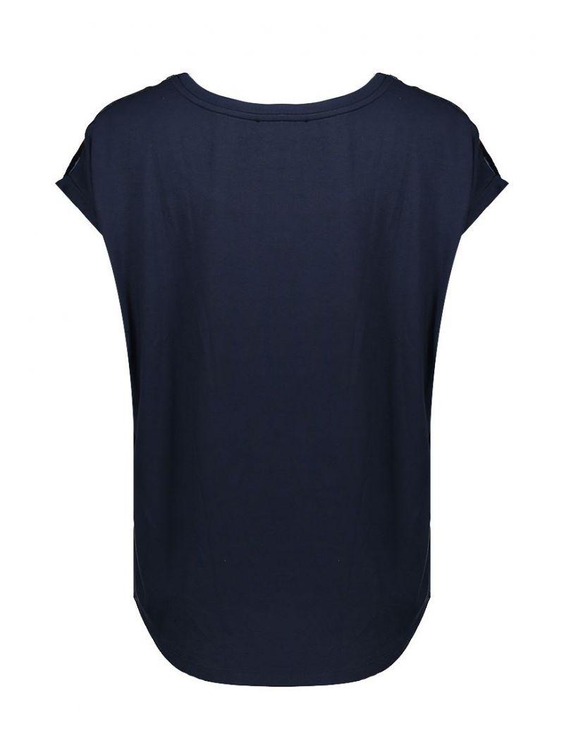 03145 Shirt Stofmix met Korte Mouw - Donker Blauw