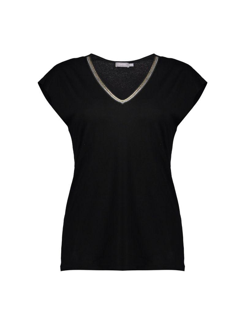T-Shirt met Glitter V-Hals - Zwart
