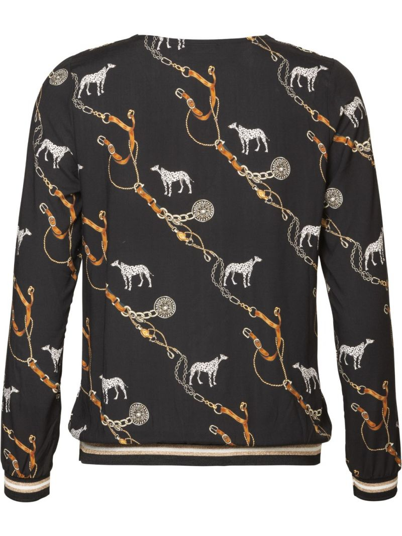 V-Neck Top Dog & Chains - Zwart