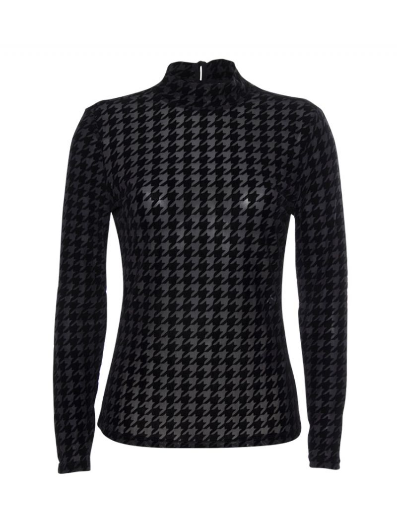 Pied de Poule Mesh Shirt - Zwart