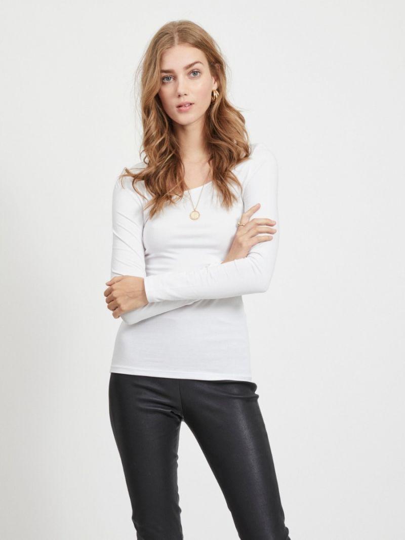 Basis Shirt met Lange Mouw - Wit