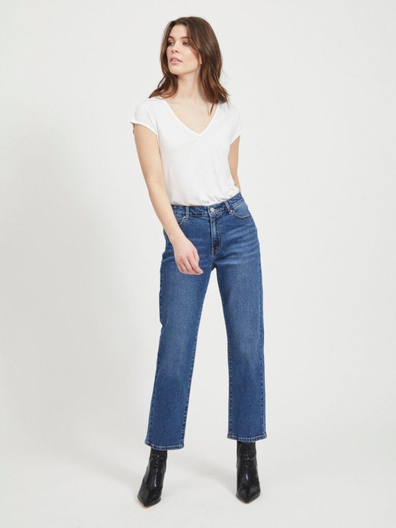 Basic T-Shirt met V-Hals - Wit
