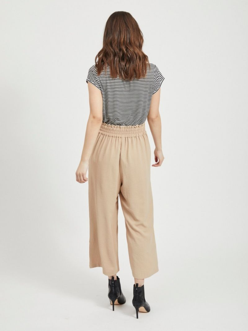 Basic T-Shirt Streep met V-Hals - Zwart