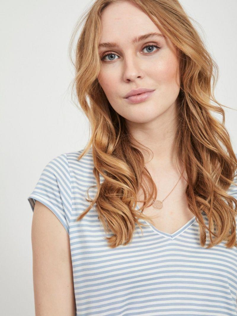 Basic T-Shirt Streep met V-Hals - Licht Blauw