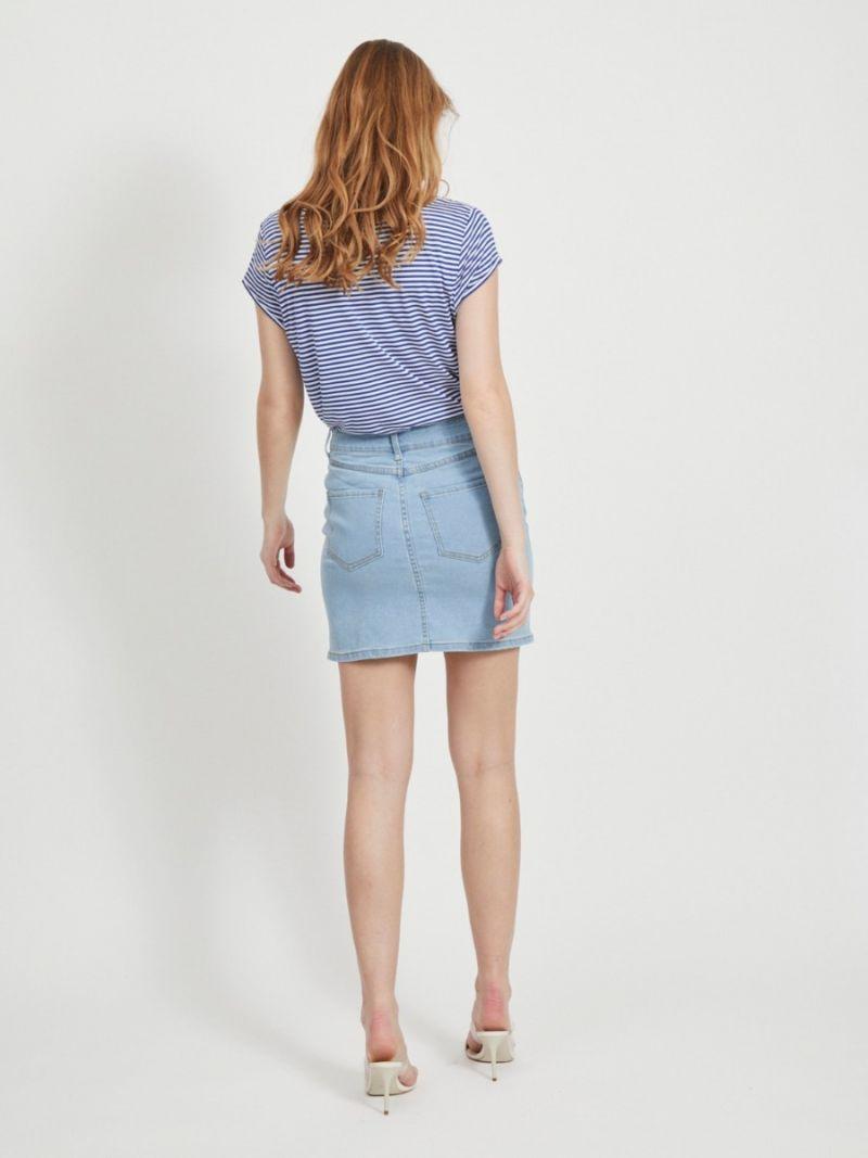 Basis T-Shirt Streep met V-Hals - Cobalt
